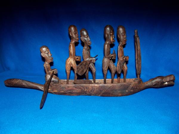 African Warrior Dog Boat Hand Carved -   x0024 225