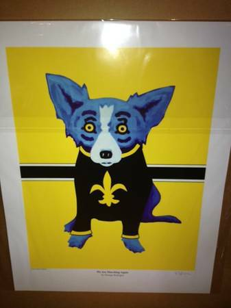 Signed Blue Dog by George Rodrigue  We Are Marching Again  -   x0024 2500  Lafayette  LA