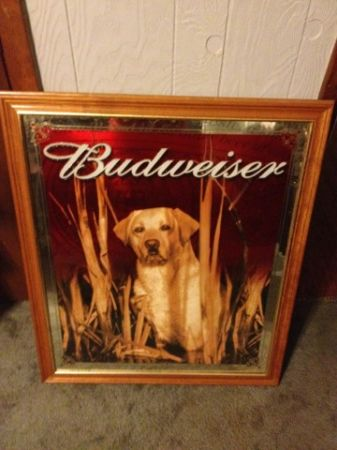 budweiser golden retriever bar mirror - $200 (lafayette)
