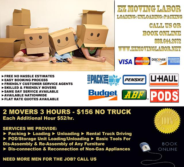156 Moving Labor  Help Movers To LoadUnload Your Rental Trucks 124 PODS 124 Storage Units  Cubes