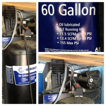 60 gallon Kobalt 3.7 hp Compressor - $375 (lake charles )