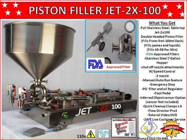 2 140  Jet 2x-100 Double Headed Piston Filler