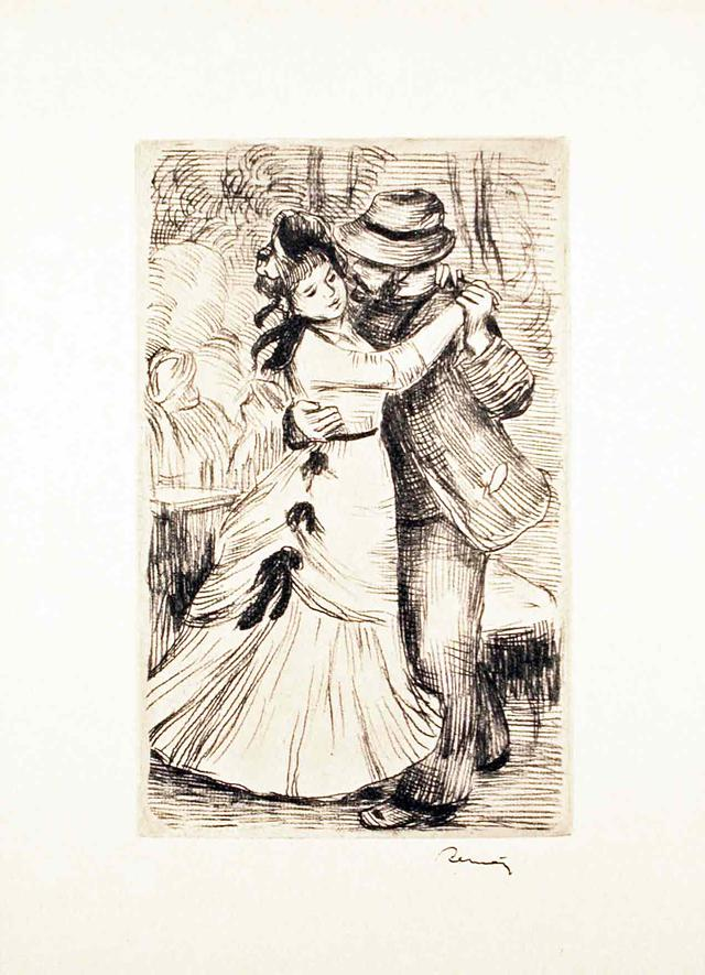 Original 1890 Renoir Etching The Dance In The Country