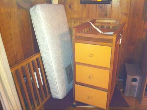 Crib changing table combo and bassinet - $75 (Welsh)