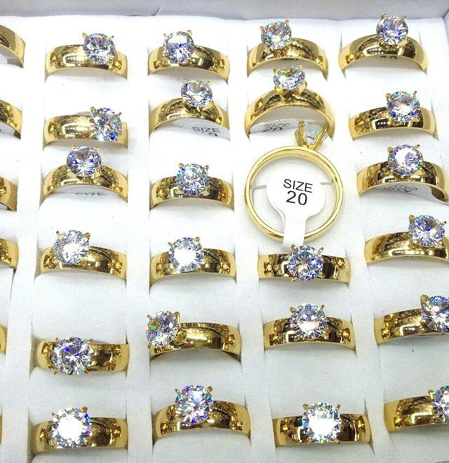 72  Set of 36 beautiful 24k gold plated stainless steel rings zirkonia diamond  Free shipping in US