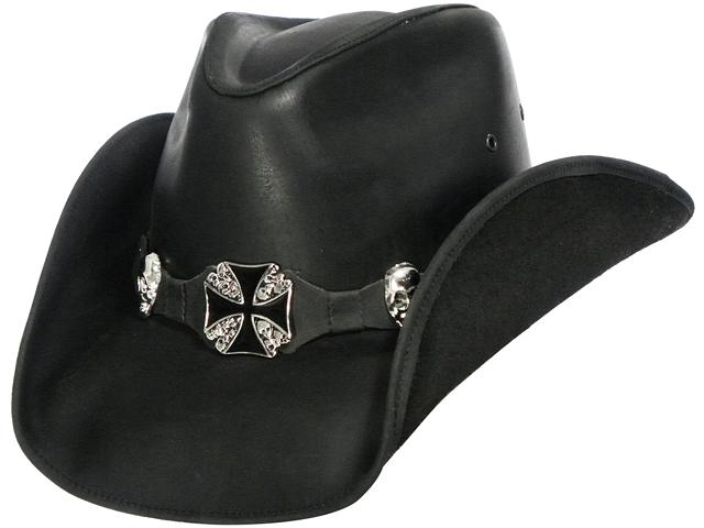 79 95  HIGHWAY TO HELL Leather Cowboy Hat in Black Color