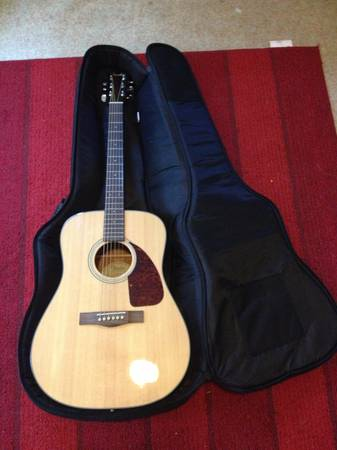 Fender acoustic guitar and Road Runner travel case, $135 - $135 (Lake Charles downtown)
