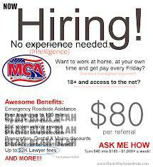 Now Hiring MCA workers  at home