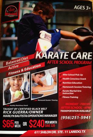 Karate Care After School Program     Tutoring available     611 Shiloh Dr Ste  11