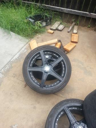 Selling 18 Black Racing Rims or Even For Trade Universal 5 Lug