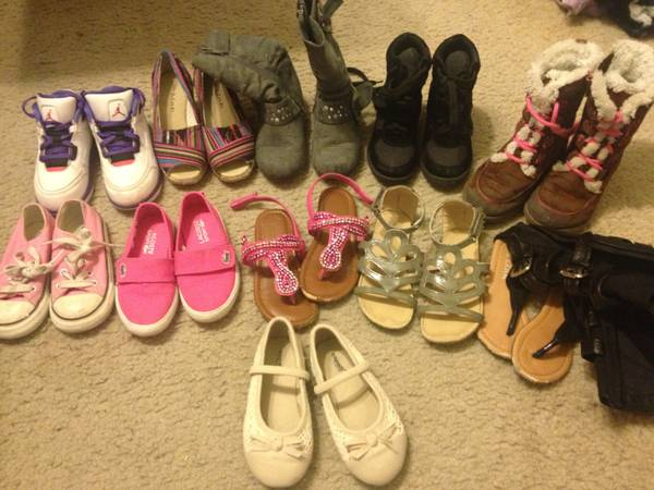 Toddler girl shoes and newborn baby boy clothes - $70 (Mines rd)