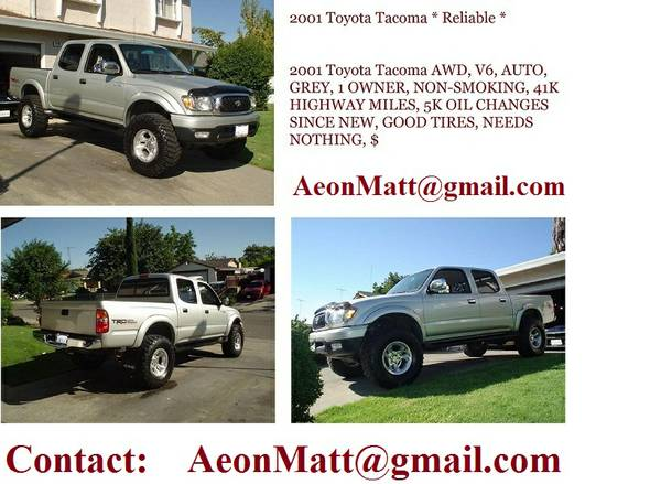 ______2001 Toyota Tacoma double cab 6-Cyl, 5-Spd, 4wd, Silver ____ - $1897 ( laredo )