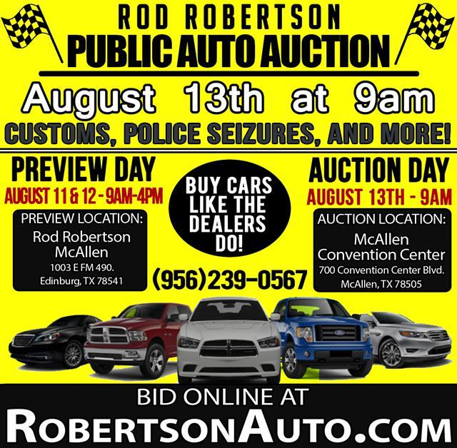 813 Public Auto Auction - Bidding Starts at just  100 McAllen Convention Center