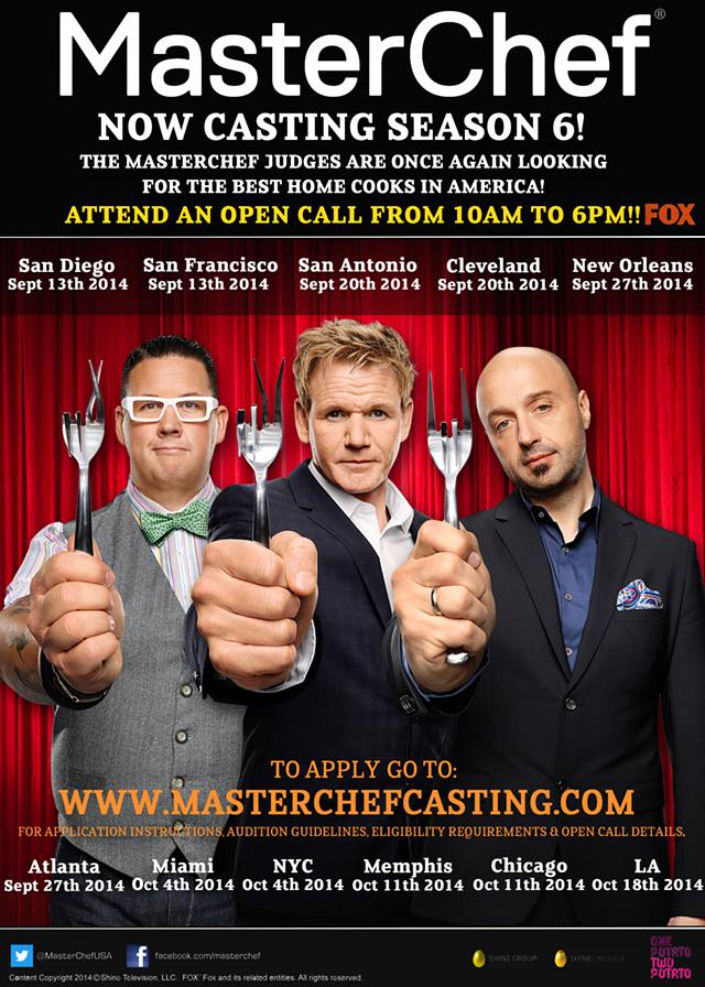 FOXs MasterChef is Casting Amateur Cooks NATIONWIDE - SEPT 13th thru OCT 18