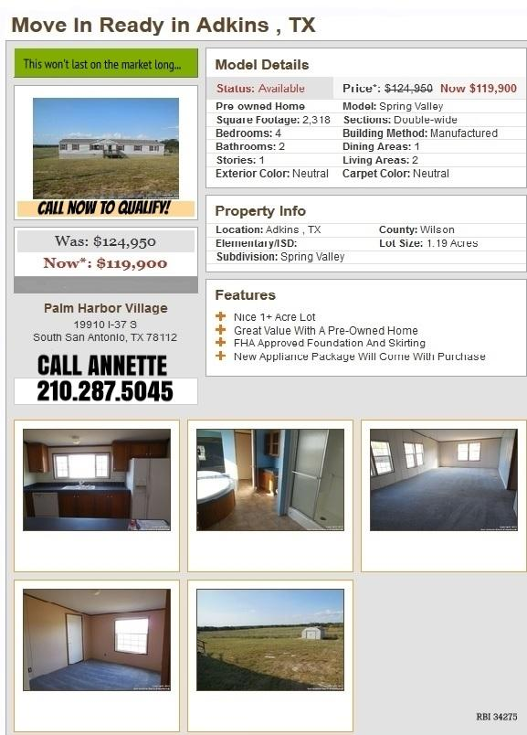 121 900  4br    Home  Land Packages in Adkins  TX
