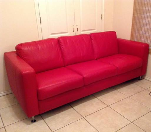 Natuzzi Red Leather Sofa Chair (McAllen, TX)
