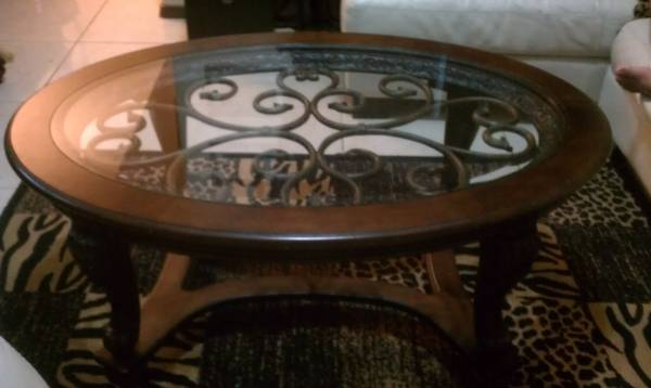 982998299829 GREAT DEAL ASHLEY WOOD GLASS IRON TABLES9829b - $450 (RGV)