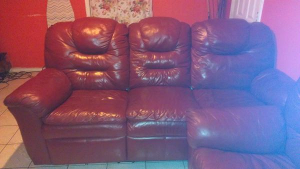 2 leather sofas w double recliners reducued - $700