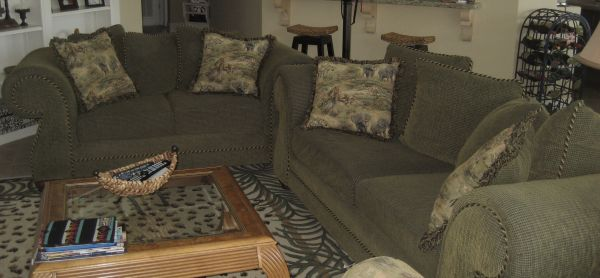 LIVING ROOM SET - SOFA AND LOVE SEAT 3 TABLES - $600 (EDINBURG)