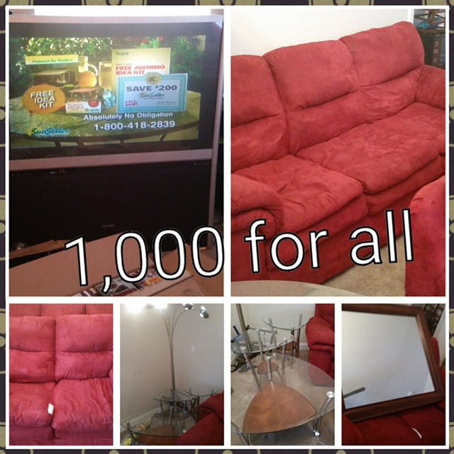 800  Sofa tv and table set 800 bucks