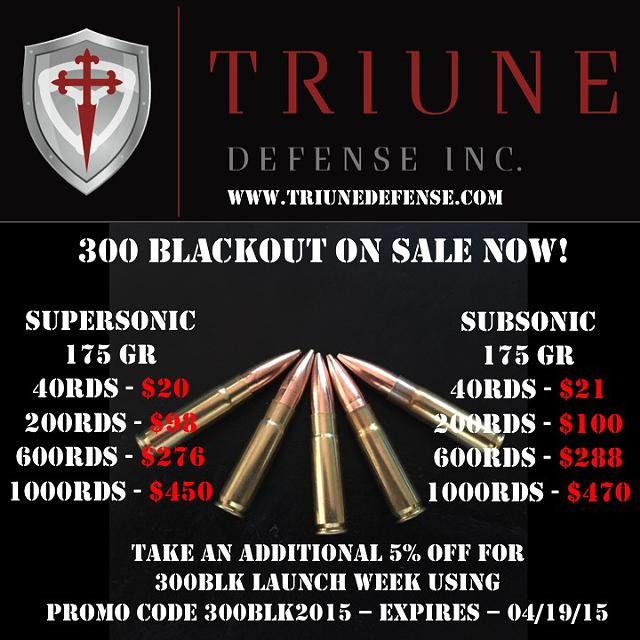 $20, 300 Blackout Subsonic Supersonic 175 Gr SMK 45 ACP New - Triune Defense