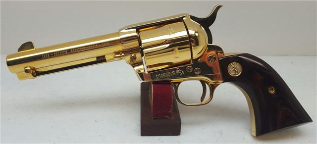 800  Colt SAA GOLD 4-34 Single Action 45 - black box       Rosewood grips - Gold Medallions - GOLD PLAT