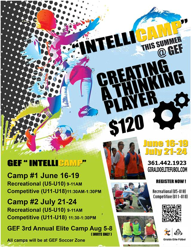 INTELLICAMP   The Best Youth Soccer Can Offer This Summer    Call 361-442-1923