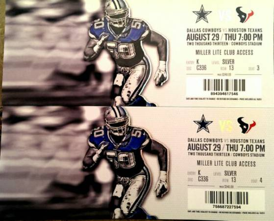dallas vs texans 2 tickets  - $200