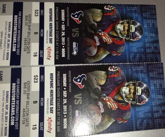 2 tickets for Texans vs Seahawks - $115 (RGV)