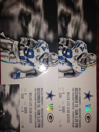 Dallas COWBOYS vs Green Bay PACKERS Tickets CLUB Seats 40 YL View - $900