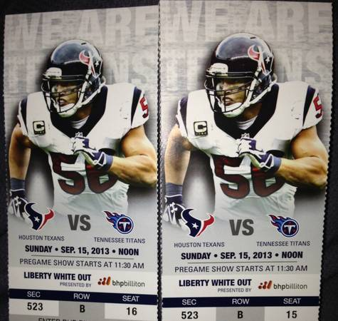 2 tickets for Texans vs Titans - $100 (McAllen,TX)