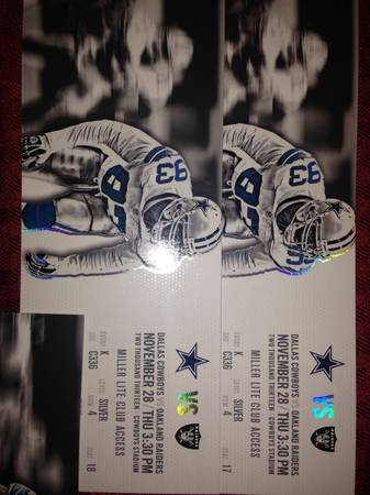 Dallas Cowboys vs Raiders Thanksgiving GameCLUB Seats 40 YL View - $800