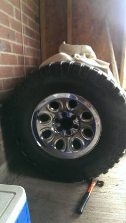 mickey Thompson mud tires with 17 inch chrome rims - $500