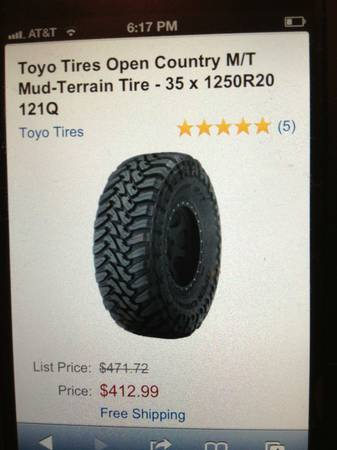 35X20 TOYO TIRES OPEN COUNTRY MT - $1300 (McALLEN, TX)