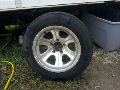 15 inch rims n tires for chevy 5 lug - $150 (alton tx)