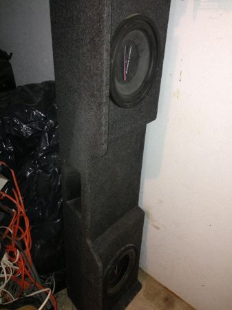 Subwoofer box with 2-10 audiobahn woofers - $150 (Mission)