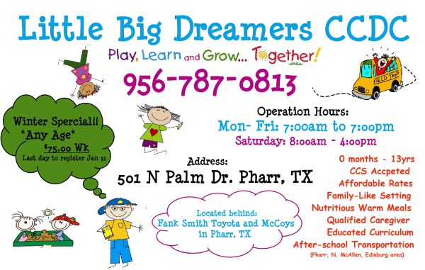 Daycare ANy AGe Winter Special - $75 (Pharr TX)