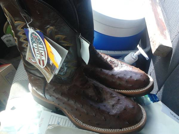Justin brown ostrich boots (NEW) - $240 (pharr)