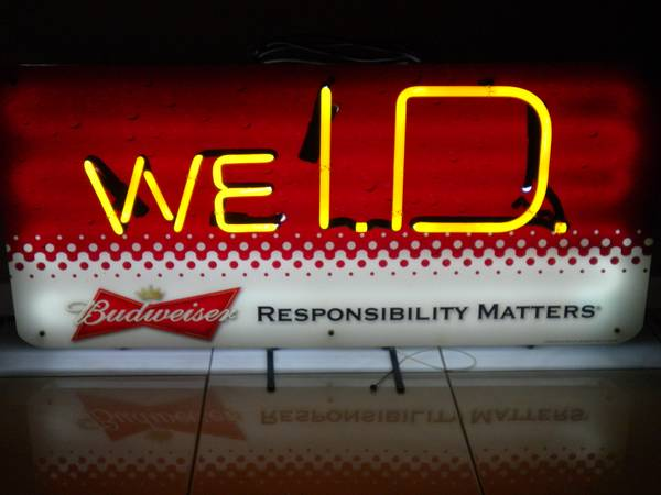 (COOL) BUDWEISER WE I.D. NEON SIGN for YOUR MAN CAVE (WOW) (Penitas)