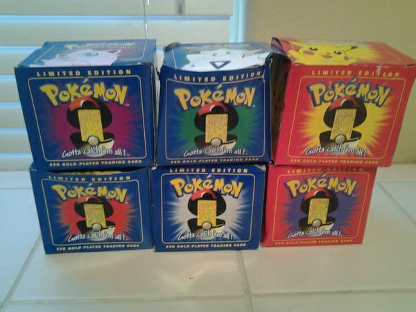 6 Pokemon 23kt Gold Card in ball on Original Boxes. (McAllen)