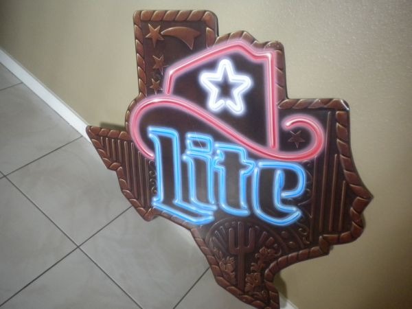 (COOL) MILLER LITE MAP of TEXAS BEER METAL SIGN (BIG) (Penitas)