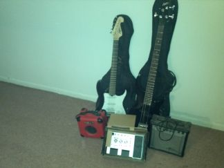 bass and electric guitar and 50 special effects pedalmixer - $350 (mission area)