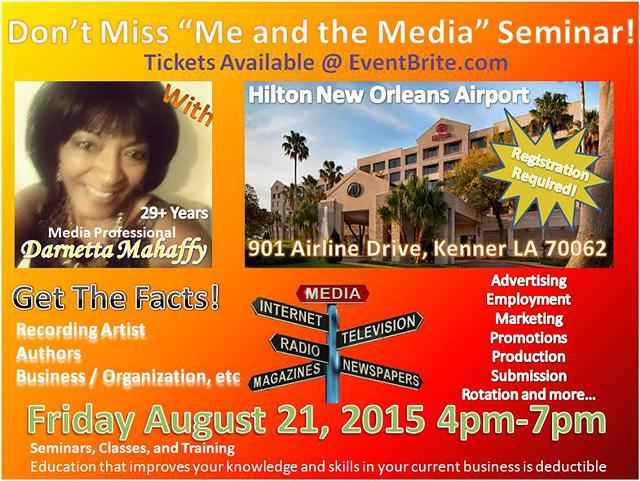 EXPOSURE SEMINAR for Recording Artist  Authors  Business Owners  Organizations etc     With Darnetta
