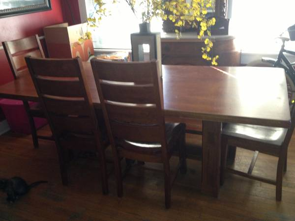 World Market large table with 4 chairs and bench. - $325 (Monroe)