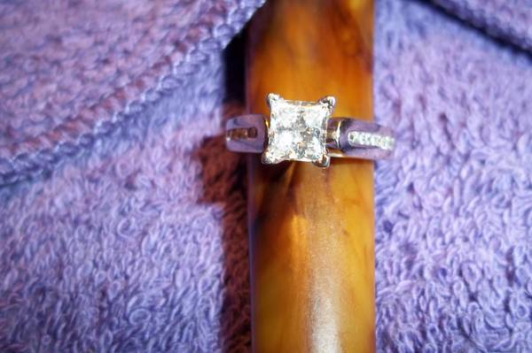 Beautiful 1 03 Carat Princess cut Solitaire ring  14 carat white gold -  2500  North Louisiana