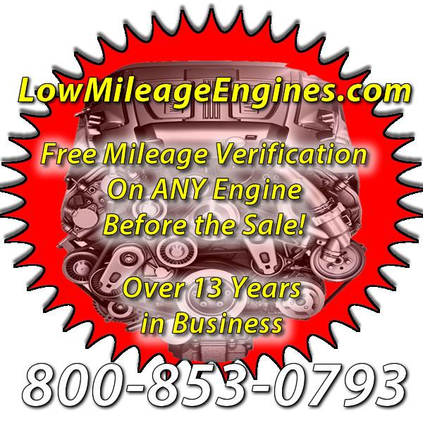 Low Mileage Replacement Engines -  800-853-0793  Salvaged and Used Low Mileage