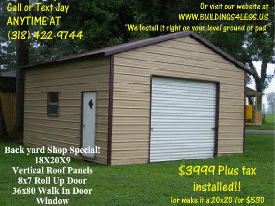 3 999  Beautiful steel gardenfarm shed installed   window door  roll up  under  4k installed  rent to own