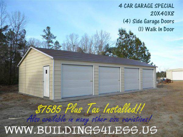 Steel carports  garages  shops  barns and more   rent to own is available