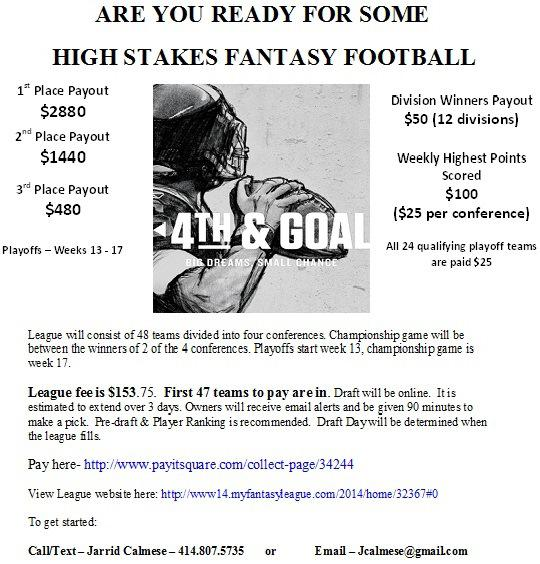 Fantasy Football Owners Needed
