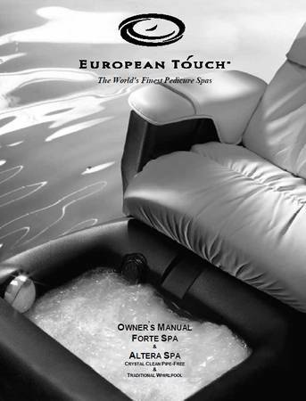 EUROPEAN TOUCH - WHIRLPOOL FOOTSPA - Model SOLACE